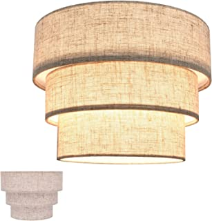 HUOKU Lamp Shades for Floor Lamps,Pendant Lighting and Chandelier Replacement,3-Tier Drum Fabric Lampshade with Natural Li...