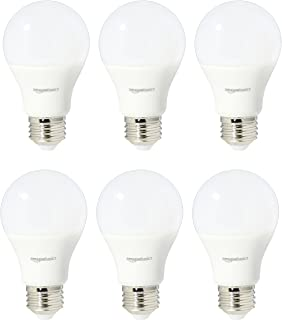 AmazonBasics 60 Watt Equivalent, Soft White, Non-Dimmable, A19 LED Light Bulb | 6-Pack