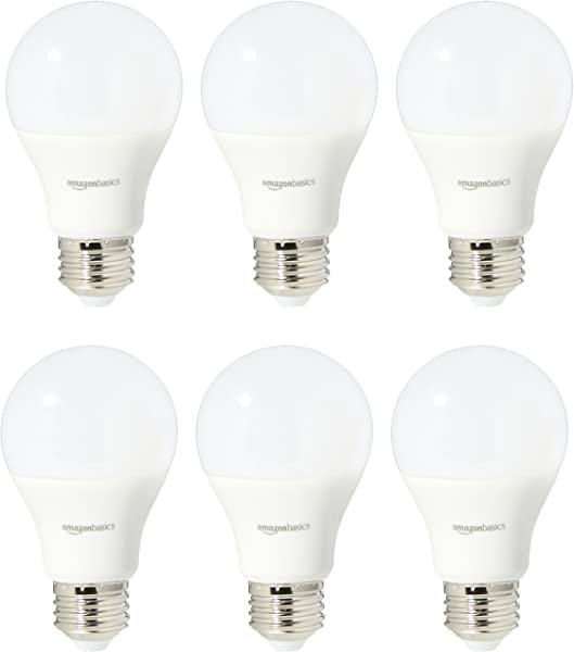 AmazonBasics 60 Watt Equivalent Soft White Non Dimmable A19 LED Light Bulb 6 Pack