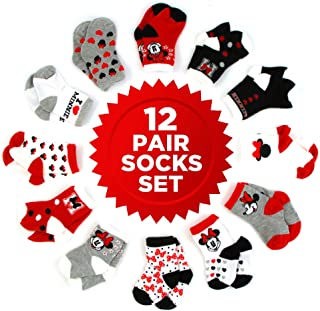 Disney Baby Girls' Minnie Mouse Assorted Color 12 Pair Socks Set