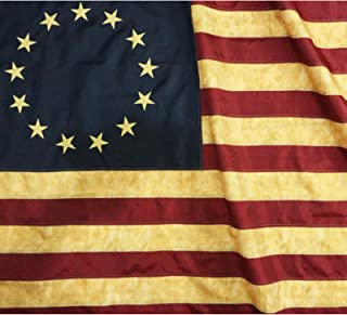 Best Anley Vintage Style Tea Stained Betsy Ross Flag 3x5 Foot Nylon - Embroidered Stars and Sewn Stripes - 4 Rows of Lock Stitching - Antiqued Early USA Banner Flags with Brass Grommets 3 X 5 Ft Review
