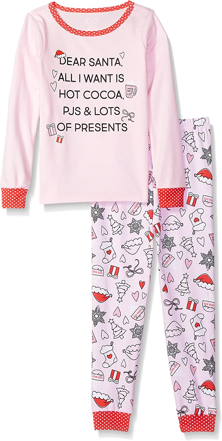 The Children's Place Girls' Baby and Toddler Long Sleeve 'Dear Santa' Snug Fit Pajamas