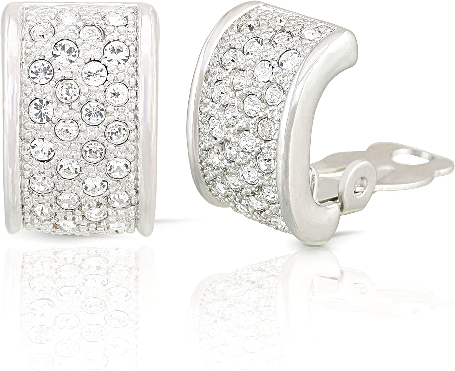 JanKuo Jewelry Rhodium Plated Half Semi Hoops Crystals Clip On Earrings