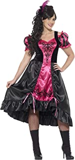 Smiffys Women's Wild West Saloon Girl Costume, Dress and Feather Hairclip, Western, Serious Fun, Plus Size