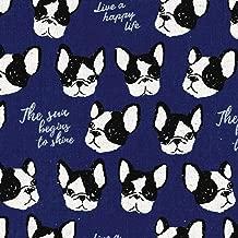 Black & White Bulldog on Blue - Kokka Japan Cotton/Linen Canvas Fabric