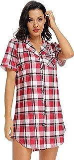 Womens Nightshirt Short Sleeves Pajama Boyfriend Shirt Dress Nightie Sleepwear PJ