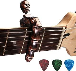 Guitar Capo Skull Knob Design Universal 4 5 6 12 Strings Instrument Capos with 3 pcs Guitar Picks for Electric Classical Acoustic Guitar Bass Ukulele Mandolin Banjo and More(Bronze)