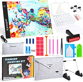 Karsspor 72PCS Diamond Painting A4 LED Light Pad, Adjustable Light Board Kit with Felt Bag, Detachable Stand, Diamond Pain...