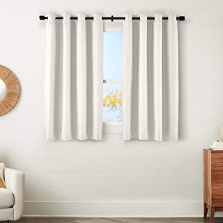 amazonbasics 100% Blackout Textured Linen Window Panel with Grommets and Thermal Insulated, Noise Reducing Blackout Liner...