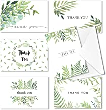 Thank You Cards, Baby and Bridal Shower Thank-You Cards, 4x6 Thank You Cards, Bulk Thank You Cards Wedding, Blank on the Inside, Watercolor Foliage Thank You Notes - 36 Pack, Envelopes Included