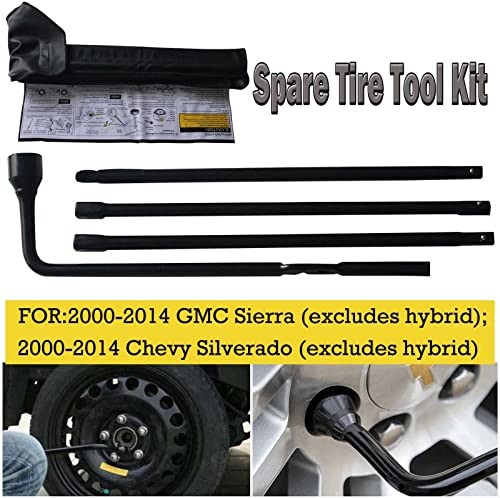 new arrival Bowoshen outlet sale 2021 Spare Tire Tool Kit with Carry Case for Chevy GMC Silverado Sierra Tahoe Yukon Lug Nut Wrench Extension Piece 22969377 20782708, US Stock outlet online sale