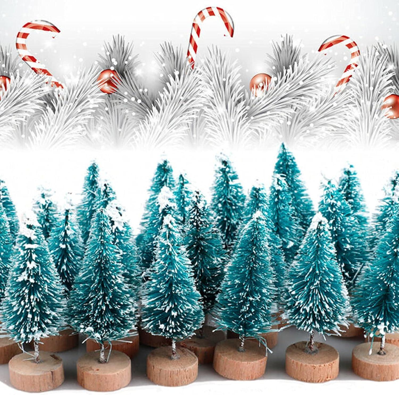 Save money Mini Christmas Tree 24Pcs Sisal Trees Directly managed store Xmas Frost Pine Snow