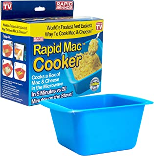 Rapid Mac Cooker | Microwave Macaroni & Cheese in 5 Minutes | Perfect for Dorm, Small Kitchen or Office | Dishwasher-Safe, Microwaveable, & BPA-Free (Blue)