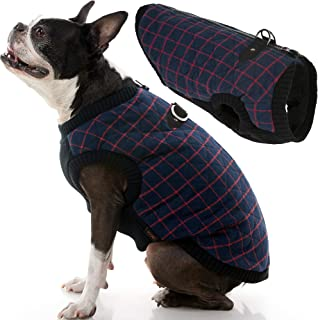 Gooby - Fashion Vest, Small Dog Sweater Bomber Jacket Coat with Stretchable Chest, Navy Check, X-Large