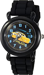 DISNEY Boys Cars 3 Analog-Quartz Watch with Silicone Strap, Black, 15 (Model: WDS000303)