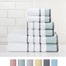 Great Bay Home 6-Piece 100% Turkish Cotton Striped Towel Set, Soft, Ultra-Absorbant. Includes 2 Bath Towels, 2 Hand Towels and 2 Washcloths. Noelle Collection Brand. (Eucalyptus/Grey)