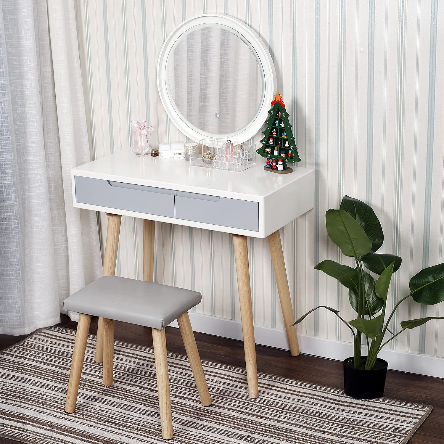 YOURLITEAMZ Save money Round Dressing Table with Be Mirror Vanity and Max 63% OFF Light