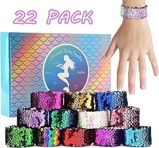 KUUQA 22 Pcs Magic Sequin Mermaid Bracelets 2-Color Reversible Sequins Glitter Slap Bracelets Wristbands for Kids Little Mermaid Birthday Party Favors Bags Supplies (Random Colors)