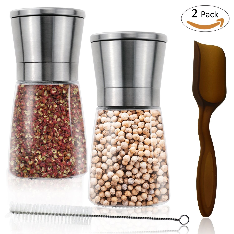 Philonext 2 Pack Moledor de Sal y pimienta Molinillo de Pimienta y Sal con Precisión Grosor