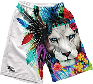 • Men's Clothes, Graphic Print Polyester and Spandex Shorts with Elastic Waistband