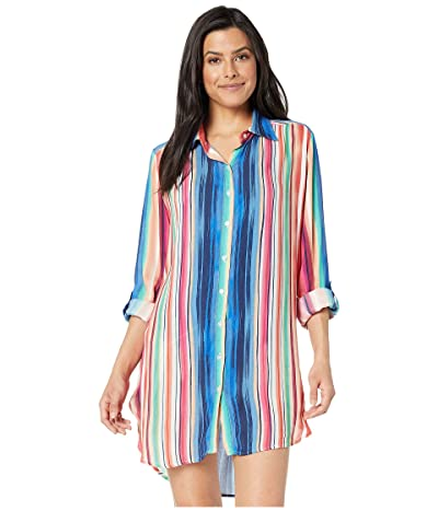 La Blanca Solar Stripe Button Up Shirtdress Cover-Up (Multi) Women