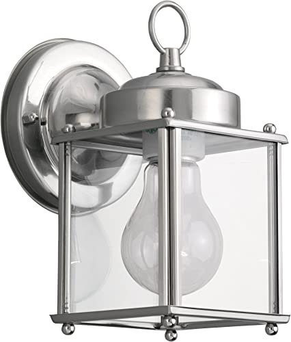 high quality Sea Gull Lighting 8592-965 New Castle One-Light Outdoor Wall Lantern with Clear Glass outlet sale Panels, wholesale Antique Brushed Nickel Finish online sale