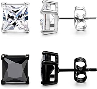 2 Pairs Mens Womens Stainless Steel Stud Earrings Square Cubic Zirconia Earrings Pierced