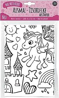 JEKA Obrus papierowy do malowania, motyw świata fantazji, malowany obrus jednorożec, dekoracja na urodziny dziecka, malowa...