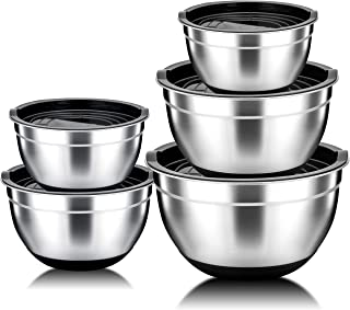 TeamFar Mixing Bowls Set of 5, 5/4/3/2.5/1.5qt, Stainless Steel Mixing Nesting Bowls with Lids, Scale Marks & Silicone Bottom, Non Toxic & Thick, Mirror Finish & Easy Clean