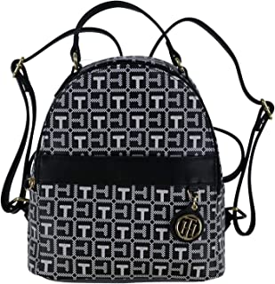 Tommy Hilfiger Womens Backpack Purse With Monogram Charm