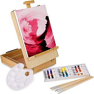 comprar comparacion Artina Florenz set de pintura de 28 piezas caballete maletín de mesa para profis y aficionados 18 colores acrílicos, lienz...