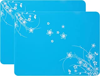 Multipurpose Silicone Placemats, Kids Placemats, Soft Silicone Tablemats Waterproof Nonstick and Nonskid Food Grade Insulation Hot Mats(Pcs 2, Blue)