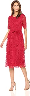 Women's Short Sleeve Lace Fit and Flare Midi Dress W/Self Sash