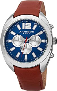 Akribos XXIV Men's Multifunction Watch - 3 Subdials Day, Date, and GMT On Cognac Calfskin Leather Strap - AK777