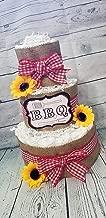 3 Tier Diaper Cake - BBQ Baby Q Diaper Cake - Burlap and Red Checker Diaper Cake Fall Theme