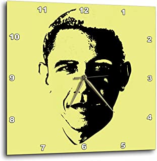 3dRose USA President Barack Obama. Yellow Background. 10 by 10 inches Wall Clocks, 10x10