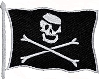 Pirate Skull Flag DIY Applique Embroidered Sew Iron on Patch PR-02