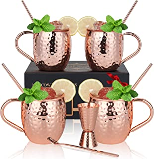 Copper Moscow Mule Mugs Set of 4, Eternal Moment Hand Hammered Copper Mugs 16 oz with BONUS: Copper Straws, Stirring Spoon...