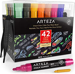 ARTEZA Liquid Chalk Markers, Water-Based 42-Color Pack with 50 Free Chalkboard Labels and Replaceable Tips for Kids, Adults, Bistros & Restaurants