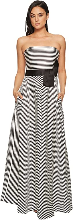 Halston Heritage Strapless Striped Structure Gown