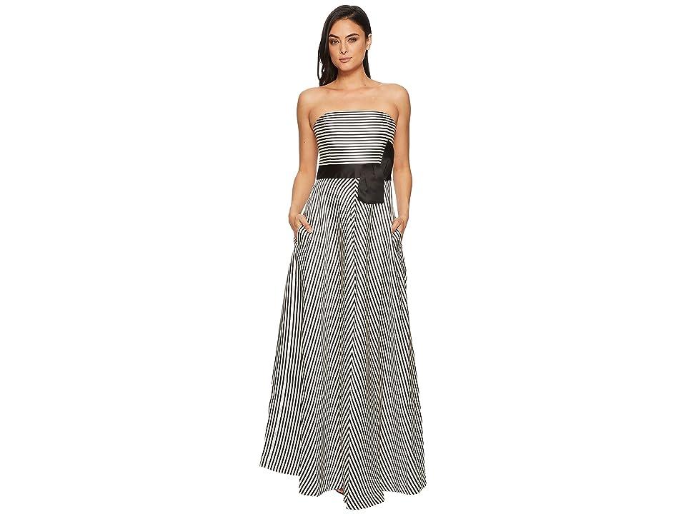 Halston Heritage Strapless Striped Structure Gown (Cream/Black Stripe) Women