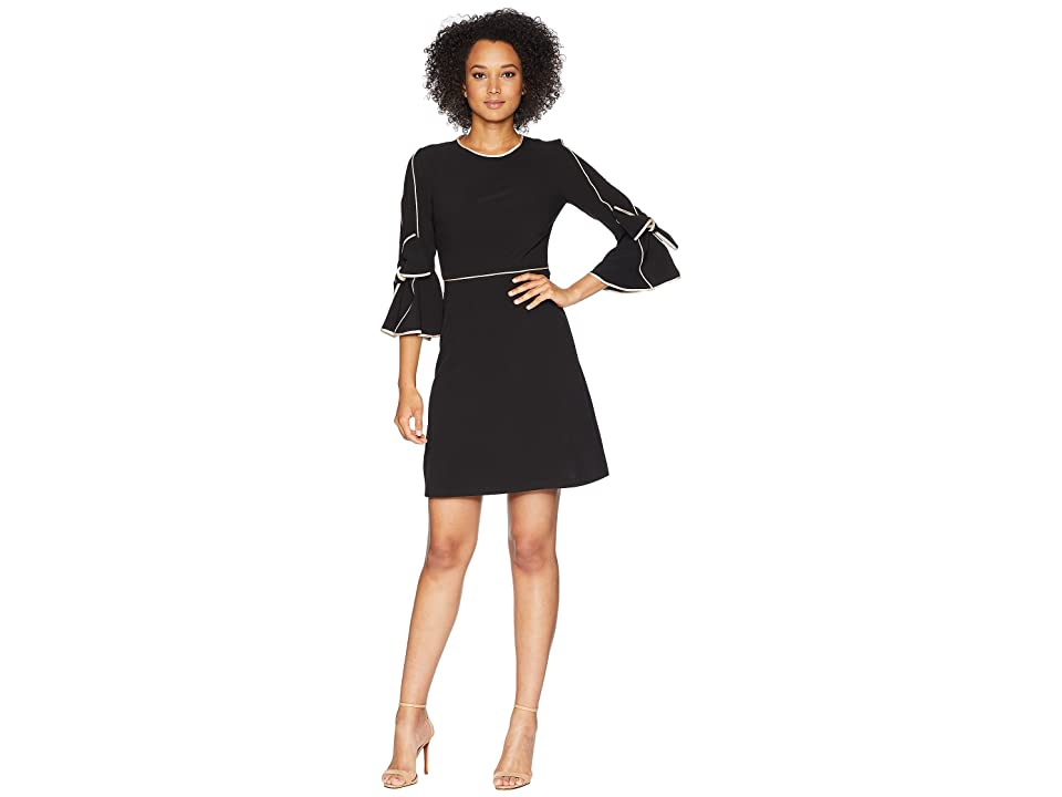 Taylor Bow Sleeve Detail with Piping Dress (Black/Tan) Women