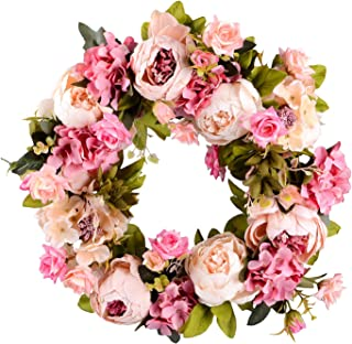 Lvydec Artificial Peony Flower Wreath - 15