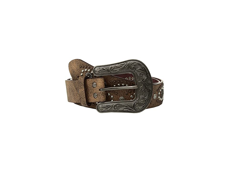M&F Western Cluster Studs with Copper Buckle Belt (Brown) Women