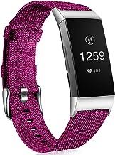 Ouwegaga Band Compatibel met Fitbit Charge 3 Banje, Ademende Geweven Stoffen Accessoires Band met Klassieke Gesp Compatibe...