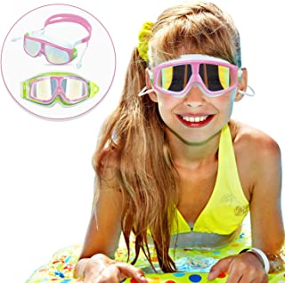 Qiandy Kids Swim Goggles, Swimming Goggles, Swimming Glasses with Waterproof Anti-fog Anti-UV Lens and Soft Silicone Strap for Children and Teenagers from 4 to 15 Year Old