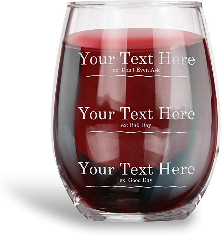 Personalized Measuring Stemless Wine Glass Engraved Wine Glass With Your CUSTOM TEXT 3 Lines Humor Drinkware Funny Gift