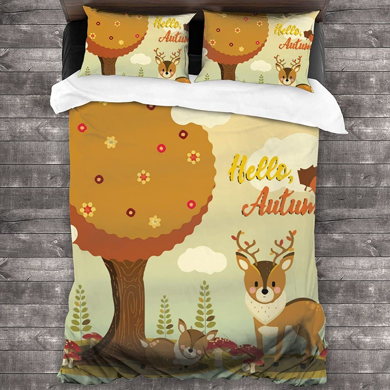 3 Max 67% OFF Pieces Indianapolis Mall Bedding Set Hello Autumn Deer Twin Cute Soft Quilt