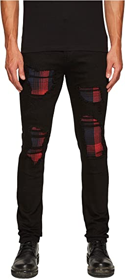 God's Masterful Children - Sotto Copertura Plaid Jeans in Black