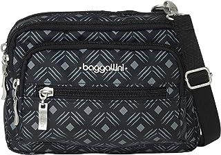 حقيبة باغاليني ثلاثية بسحاب - حزام قابل للإزالة قابل للتعديل يمكن تحويله من حقيبة كروسبودي إلى محفظة أو حزمة الخصر
